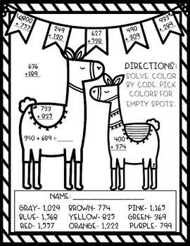 Llama Color By Code- 3 Digit Addition