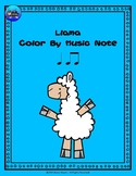 Llama Color By Music Note Rhythm Coloring - Quarter/Eighth Note