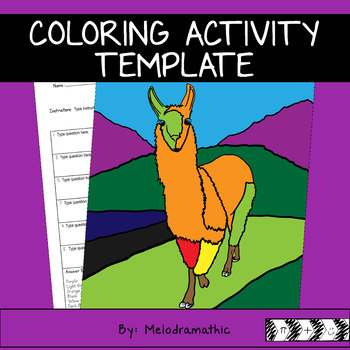Coloring Activity Template - Llama - Personal Use Only