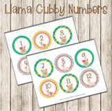 Llama Cubby Number Labels 1-30
