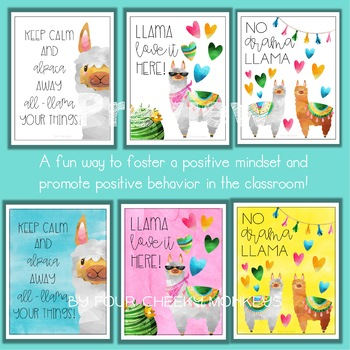 Llama Decor Classroom Posters - US version