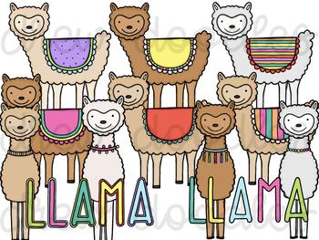 Llama Digital Clip Art Set