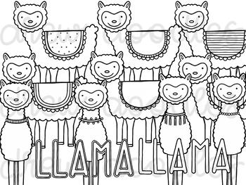 Llama Digital Clip Art Set- Black Line Version