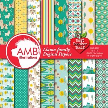 Llama Digital Papers, Alpaca Digital Backgrounds {Best Teacher Tools} AMB-1987