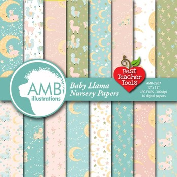 Llama Digital Papers, Baby Llama backgrounds, Baby Alpaca patterns, AMB-2265