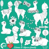 Llama Digital Stamp Clipart, Alpaca Clipart, Animal Outline Clipart, AMB-2326