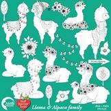 Llama Digital Stamp Clipart, Alpaca Clipart, Animal Outline Clipart, AMB-2326
