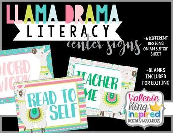 Llama Drama Collection: Literacy Center Signs