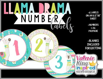 Llama Drama Collection: Number Labels