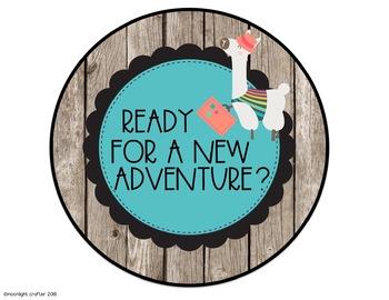 """Llama EDITABLE Door Decor """"Ready for a new adventure...ALPACA my bags!"""""""