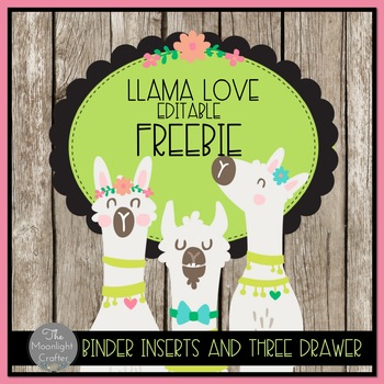 Llama EDITABLE Three Drawer Inserts and Binder Covers