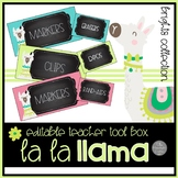 Llama EDITABLE Tool Box Labels