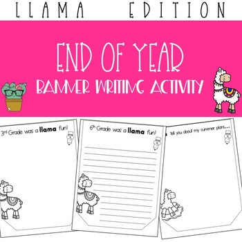 Llama End of Year Banner Writing Activity