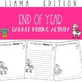 Llama End of Year Banner Writing Activity