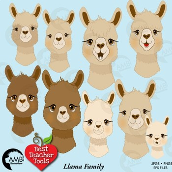 Llama Faces Clipart, Alpaca Clipart, Animal Faces, AMB-2257