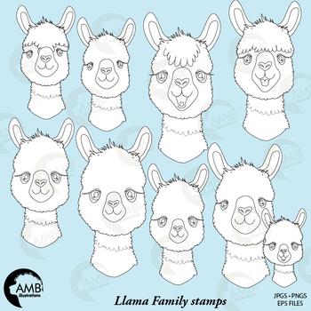 Llama Faces digital stamp , Alpaca black and white, Animal Faces, AMB-2132