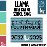 Llama Theme First Day of School Sign for Fourth (4th) Grade *EDITABLE*