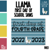 Llama Theme First Day of School Sign for Fourth (4th) Grade *FREE*