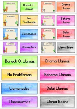 Llama Group Labels for Drawers and Folders