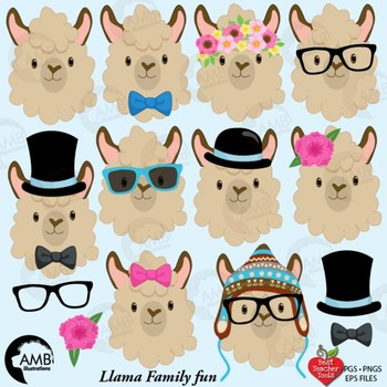 Llama Heads Clip Art, Alpaca Clipart, Animal Faces, AMB ...
