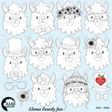 Llama Heads Digital Stamps, Alpaca Clipart, Animal Faces Clipart, AMB-1999