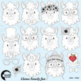 Llama Heads Digital Stamps, Alpaca Clipart, Animal Faces Clipart, AMB-1999