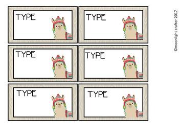 Llama Llama Book Bin Labels Editable