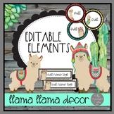 Llama Llama EDITABLE Elements for Classroom Decor