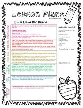 Llama Llama Red Pajama Lesson Plan