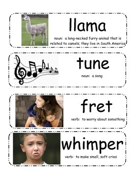 Llama Llama Red Pajama Vocabulary Cards