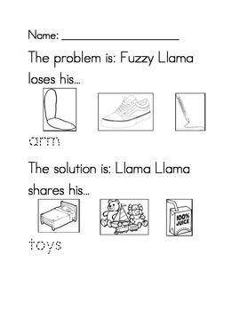 Llama Llama Time to Share problem/solution worksheet