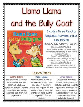 Llama Llama and the Bully Goat Reading Comprehension (CCSS) Bullying Unit