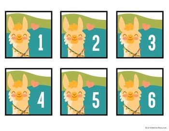 """Llama Love Number Cards 1-100 /  3"""" x 3"""" *2 Styles*"""
