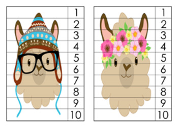 Llama Numbers 1-10 Counting Strip Puzzles