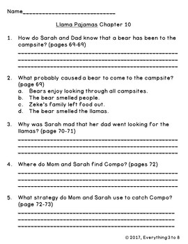 Llama Pajamas Level P Guided Reading Comprehension Chapter Questions