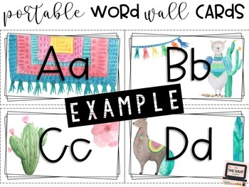 Llama Portable Word Wall Cards + Template Cards