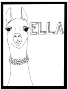 Llama Pronouns Bulletin Board/Poster Coloring Pages Set
