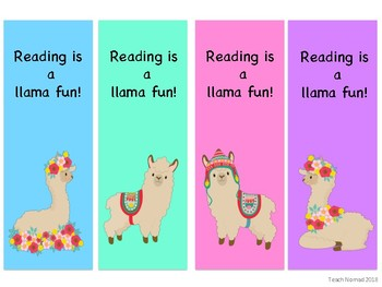 Llama Reading Bookmarks