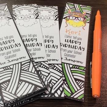 Llama Say Happy Birthday Bookmarks