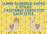 Llama Schedule Cards {2 Styles}