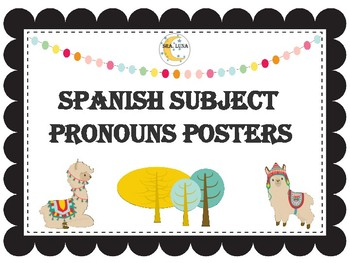 Llama classroom decor spanish subject pronouns