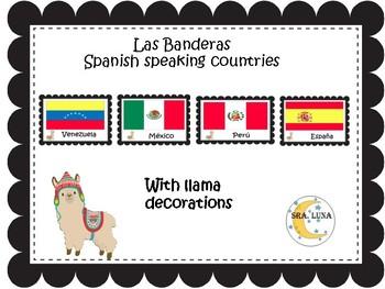 Llama classroom decor spanish  speaking countries flags