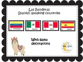 Llama classroom decor spanish  speaking countries flags