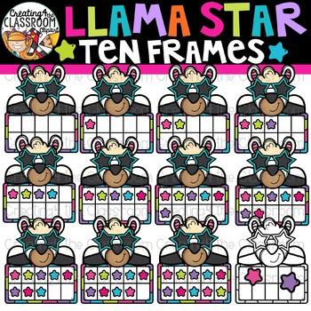 Llama Star Ten Frames Clipart {Llama Clipart}