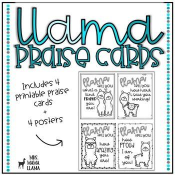 Llama Teacher Praise Cards