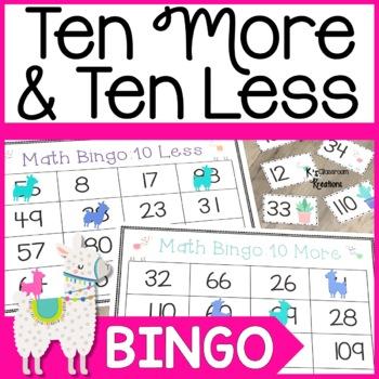 Llama Ten More and Ten Less Bingo