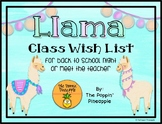 Llama Class Wish List for Meet the Teacher (EDITABLE)