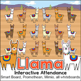 Llama Theme Attendance with Optional Lunch Count for Interactive Whiteboards