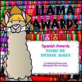 Llama Theme Awards IN SPANISH Editable and Distance Learning