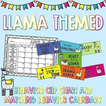 Llama Theme Behavior Calendar and Clip Chart